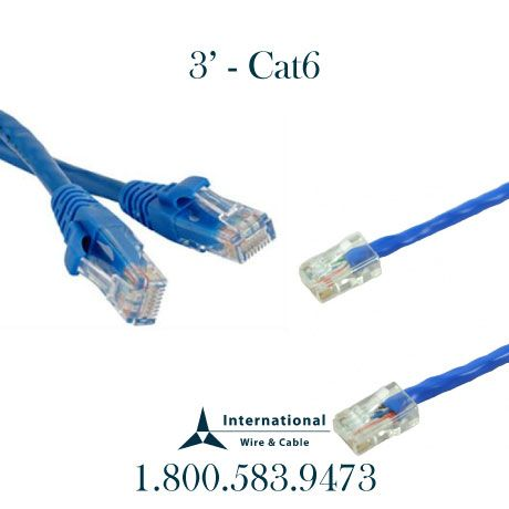 International Wire & Cable 3\' Cat6 Patch cord booted 586-997-1488